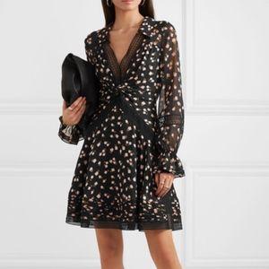 Guipure lace-trimmed floral-print chiffon dress